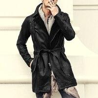 Men 2017 new winter metrosexual man long sheepskin belt genuine leather jacket men slim fashion top quality brand design jacket