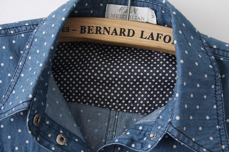 f9ccdaeedb8 2015 Summer New Fashion Polka Dot Crop Top Tie Up Denim Shirt Women  Sleeveless Blue Jean Shirts Camisa Jeans Feminina-in Blouses   Shirts from  Women s ...