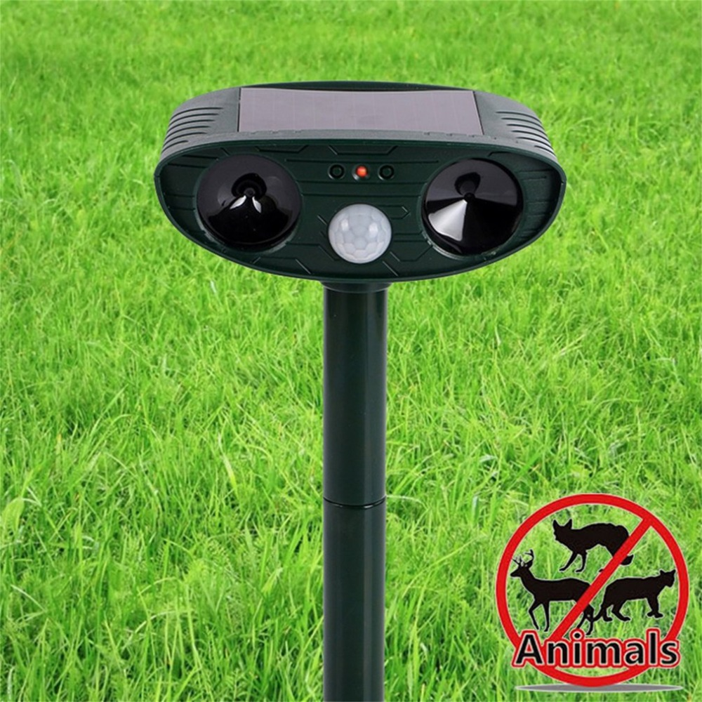 Solar Powered Motion Activated Animal Ultrasonic Cats Dogs Repeller Frighten Animals 511 For Outdoor Gardening Ultrasonic