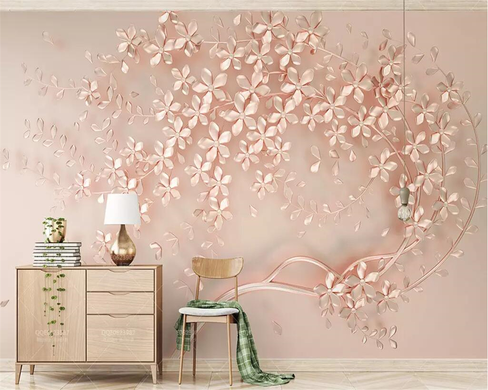 Beibehang 3d Wallpaper Rose Gold Flower Luxury 3d Stereo Tv Background Wall Paper Home Decoration Living Room Bedroom Wallpapers Aliexpress