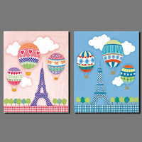 Air Balloon Sweet Eiffel Tower Pink Blue Picture Decoration Canvas Painting Wall Art Children Kid Room