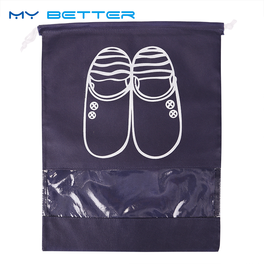 1PC Reusable Travel Storage Shoes Bag Non Woven Portable Drawstring Dustproof Cover Pouch Useful Travel Accessories solid color fashion cosmetic bag ladies portable travel necessary markup pouch storage beauty tools accessories supply products