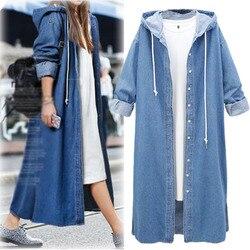 2018 jesień nowy europejski duży rozmiar przycisk sweter z kapturem Denim Sukienka kurtka kobiet długi wiatrówka na co dzień ulica Sukienka 3
