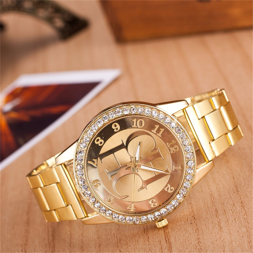 Zegarki Meskie New Famous Brand Women Watch Fashion Classic Luxury Stainless Steel Watches Rhinestone Quartz Women Wristwatches