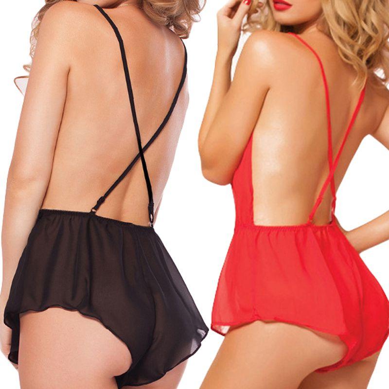 Women Sexy Underwear Lace Silk V-neck Baby Doll New Off Shoulder Plus Size Backless Sleepwear Nightgowns 5
