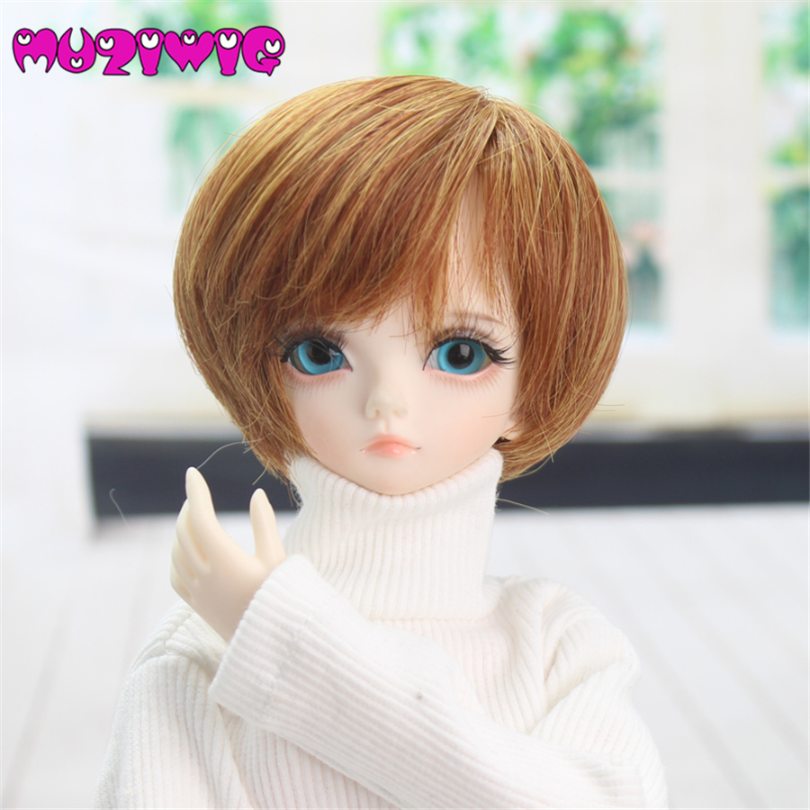 High Quality Synthetic Brown Fashion Short Hair Wig Accessories For 1/4 BJD On Sale In MUZIWIG