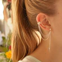 Women Girl Stylish Punk Rock Leaf Chain Tassel Dangle Ear Cuff Wrap Earring ALLOY earrings in jewelry(China)