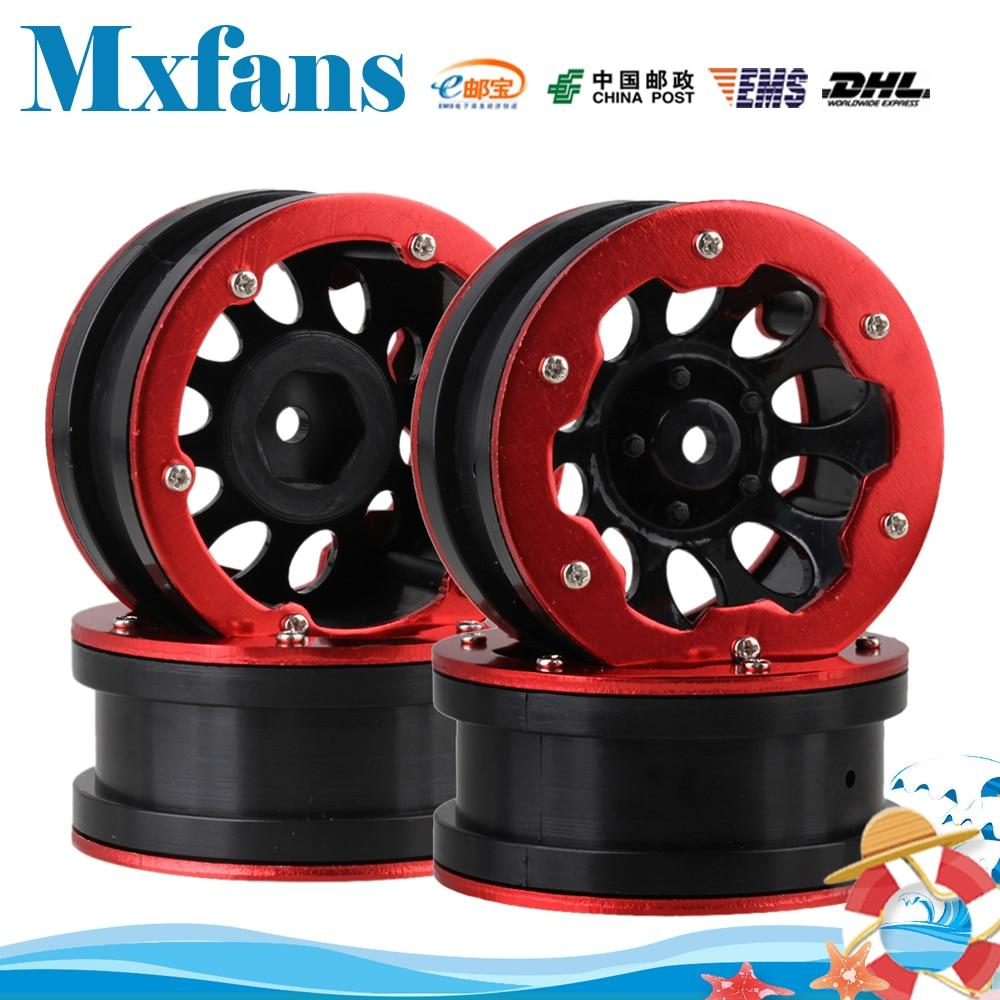 Mxfans 4pcs RC 1:10 Rock Crawler Car Black Plastic Wheel Rim & Red Aluminium Beadlock