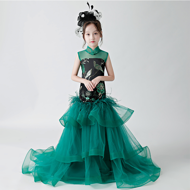 High Quality Children Girls Embroidery Green Color Dress 2018 Summer New Princess Wedding Evening Party Dresses Fishtail Dress high quality women pleated summer dress 2017 new runway designer vintage elegant green lace bird embroidery maxi party dresses