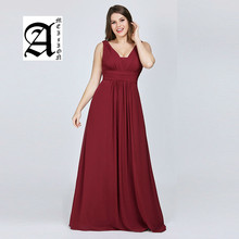 Ameision Plus Size Evening Dresses New Arrival Elegant 2019 Chiffon Navy Blue A-line Long Party Gowns for Wedding Guest