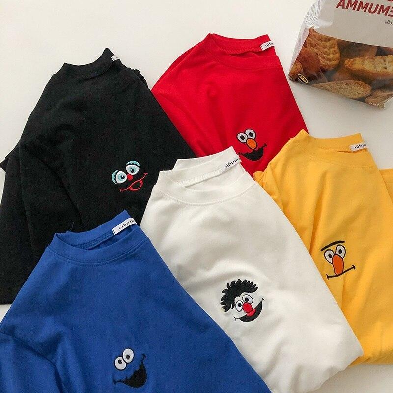 Koreański kreskówka haft luźny, w stylu basic t shirt jesień z długim rękawem proste t-shirty dla kobiet harajuku Kawaii funny student tshirt 3