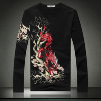 Chinese style unicorn pattern embroidered leather long sleeve t shirt Autumn 2018 high quality cotton fashion luxury t shirt men
