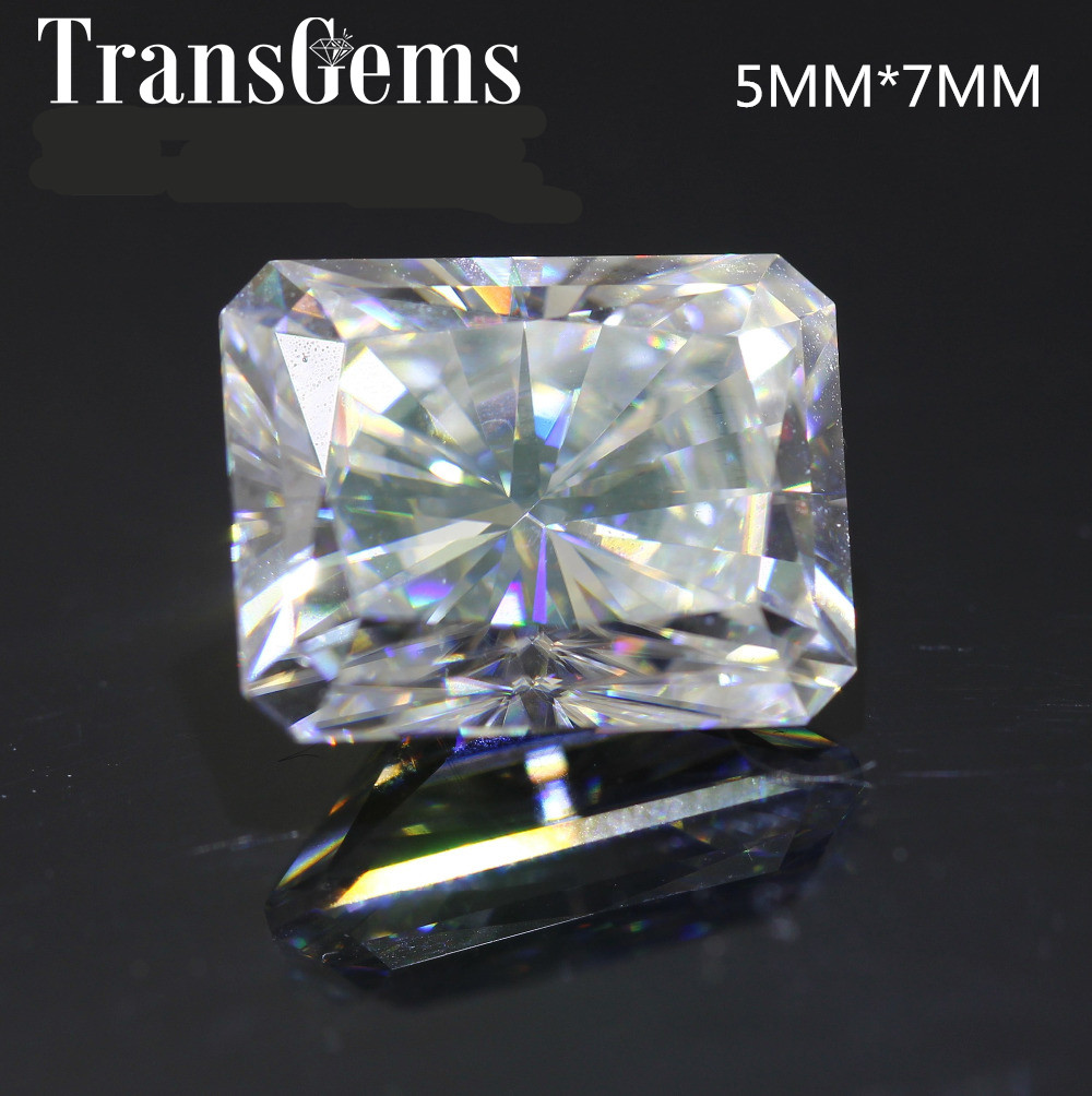 TransGems 1 Carat 5mm*7mm F Color radiant cut Moissanite Diamond Loose Stone Test Positive as Real Diamond transgems 7 5mm 7 5mm 2carat deep blue color cushion cut moissanite bead test positive as real diamond 1 piece
