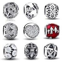 Classic 925 Sterling Silver Fleur De Lis Clear CZ Charm Fit Pandora Bracelet Bangle Jewelry Making