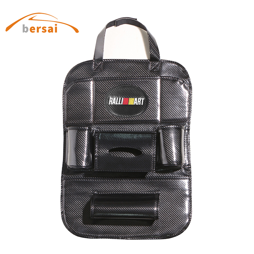 цена на Storage Bag Carbon Fiber Car Seat Back Bag Car styling For Mitsubishi RALLIART Lancer Asx Outlander Pajero interior accessories