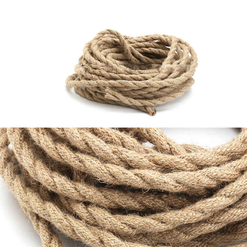 2x0.75mm 5/10M Vintage Hand Knitted Hemp Rope Wire Cable Antique Lamp Braided Fabric Light Cable Electric Wire Pendant Lamp Wire