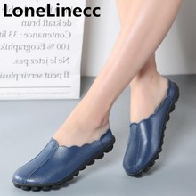 Genuine Leather Flat Shoes Woman summer Sandals women flat slippers Big  size shoes women Old age 7b2414445537