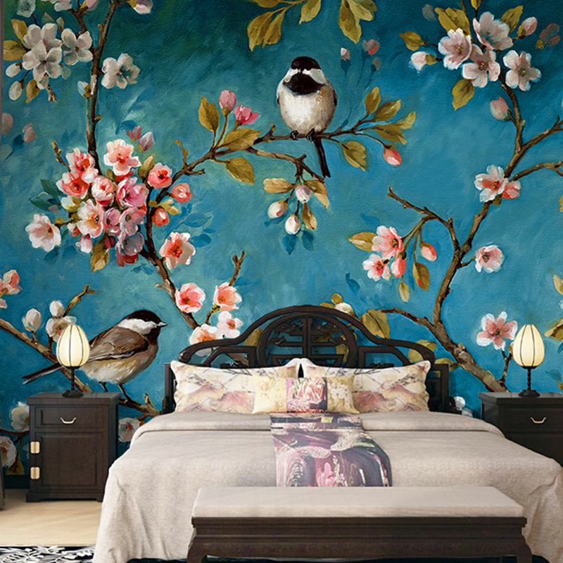Animal Print Pink Wallpaper Retro Oil Painting Style Chinese Flowers And Birds