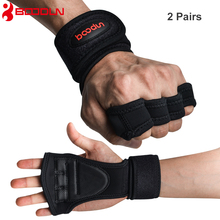 2 Pairs New Boodun Women Men  Weight Lifting Gloves Anti-skip Body Building Fitness Gym workout Hiking Climbing