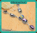 Vintage Style Rainbow Dichroic Glass Semiprecious Stone Sterling Silver Necklace Bohemia Style Necklace GM963,19""
