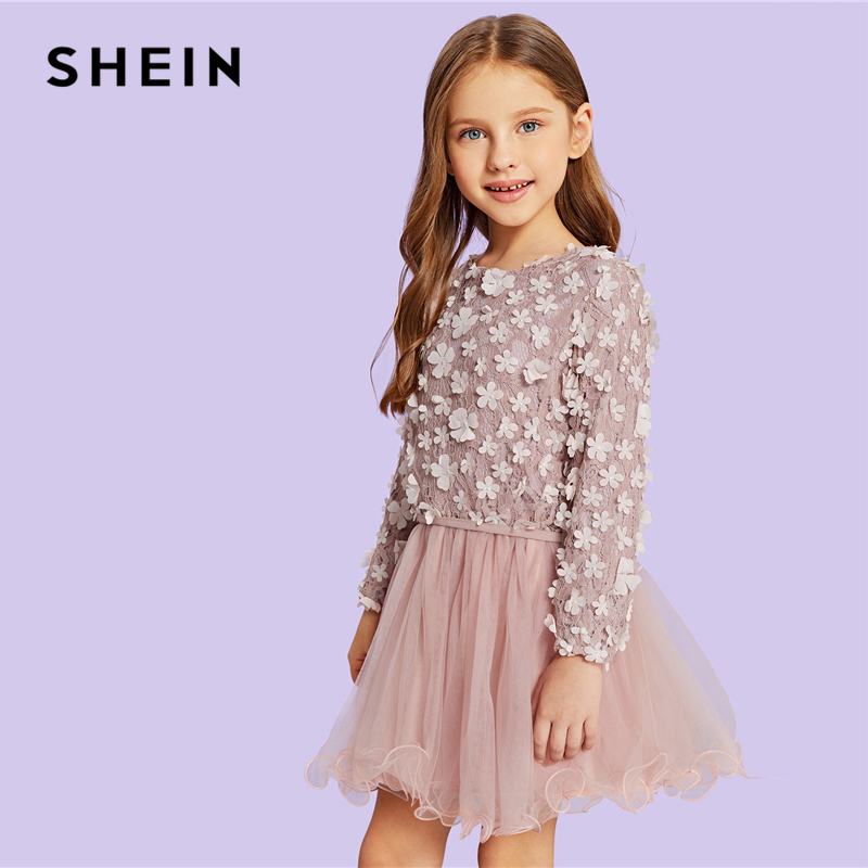 SHEIN Kiddie Pink Contrast Lace Appliques Casual Girls Dress Kids Dress 2019 Spring Long Sleeve A Line Flared Cute Mini Dresses beige floral lace stitching round neck short sleeves chiffon mini dress