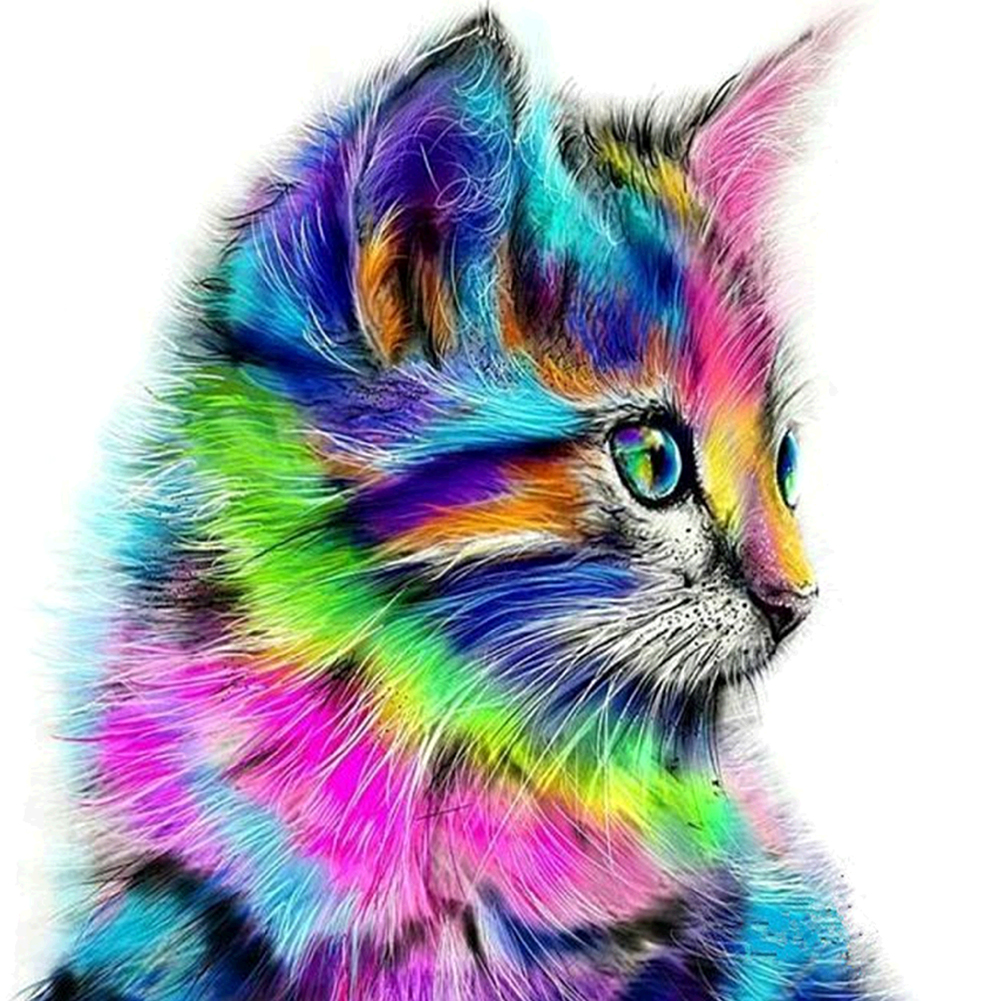 Taladro Brillante 5D Pintura Diamante BRICOLAJE Gato Colorido Pintura 3D Animal Punto de Cruz Mosaico Bordado Diamante Costura Artesanía