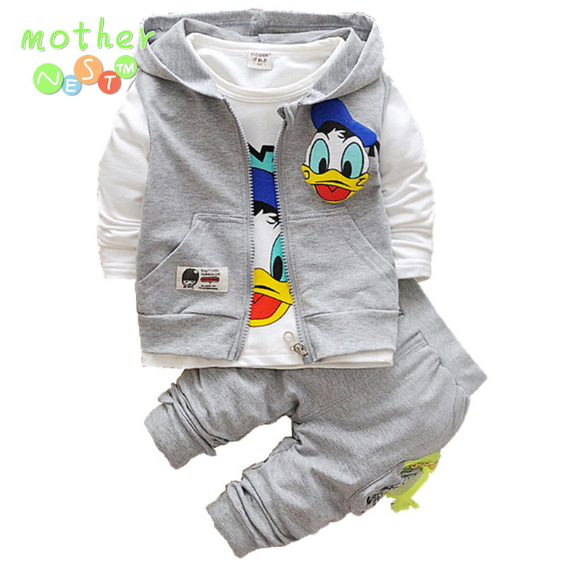 2017 Donald Duck Boys Clothing Sets Kids Autumn Character Cotton Long Sleeve Shirt +Pants+ Vest 3 Pcs Suit Children Clothes Set