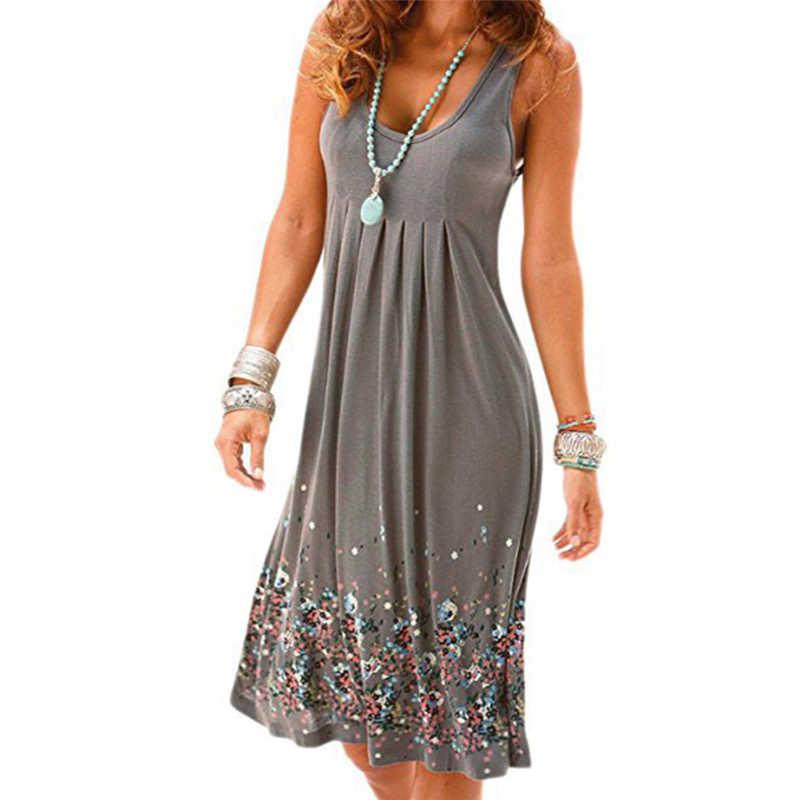 Seis cores moda boêmio estilo feminino verão casual solto sem mangas dobra festa de noite impressão curto mini vestido plus size 3xl