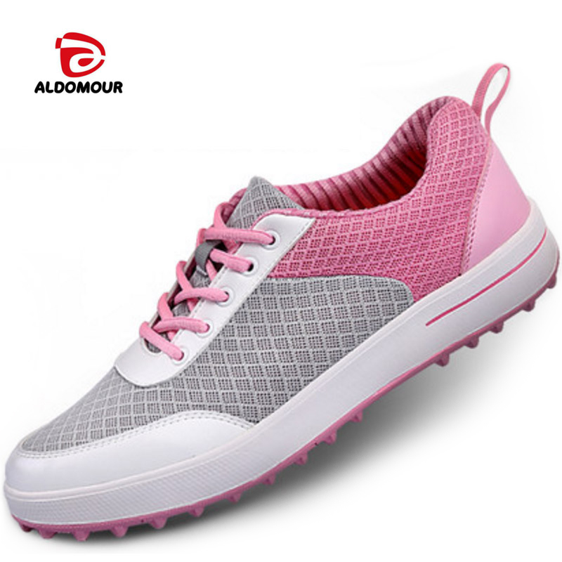 ALDOMOUR Golf Shoes Women Ultra-Light Breathable Mesh Women Sports Shoes Non-Slip Girls Golf Shoes Soft comfortable and breatha