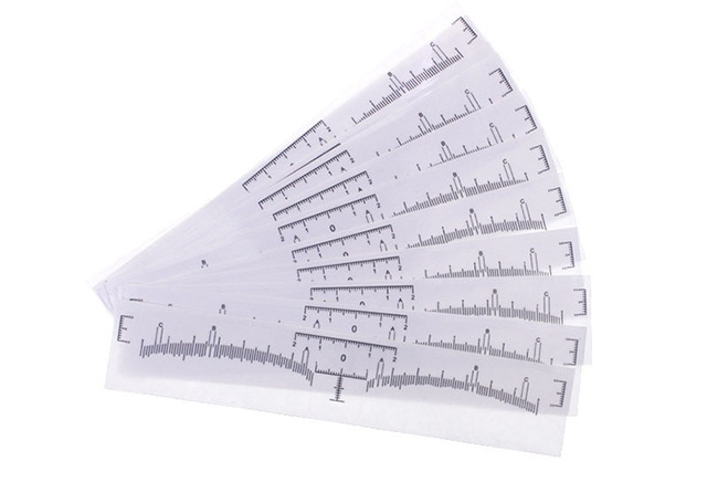 100pcs Disposable Accurate Microblading Ruler Clear Tattoo Measurement Sticker + Blue Mark For Permanent Makeup Eyebrow Shaping 3