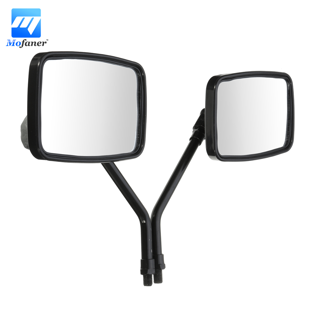 1 Pair Black 10MM Thread Black Rectangle Rearview Side Mirrors For Motorcycle Scooter ATV mp002 aluminum alloy rearview mirrors for motorcycle green brown pair
