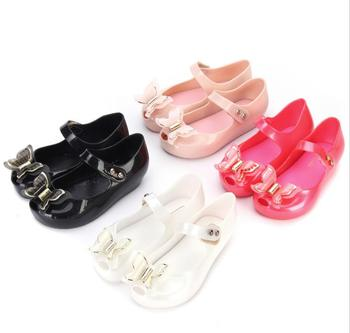 Mini Melissa 2018 Summer New Bow Girls Jelly Sandals Baby Jelly Sandals Girls Shoes Breathable Beach Sandals For Baby Sandals Сникеры