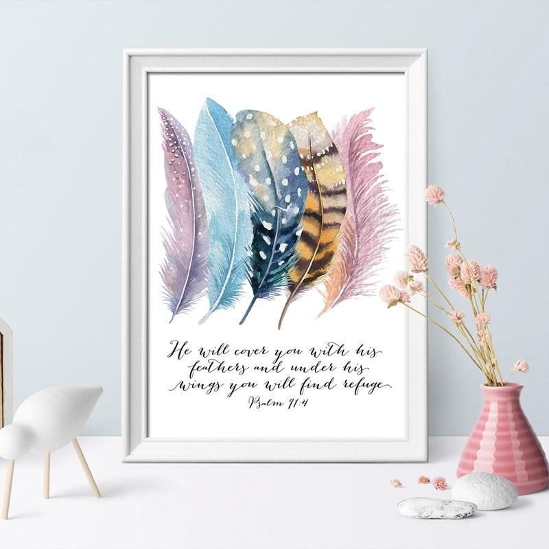 Bible Verse Birds Feathers Canvas Art Print Home Decor