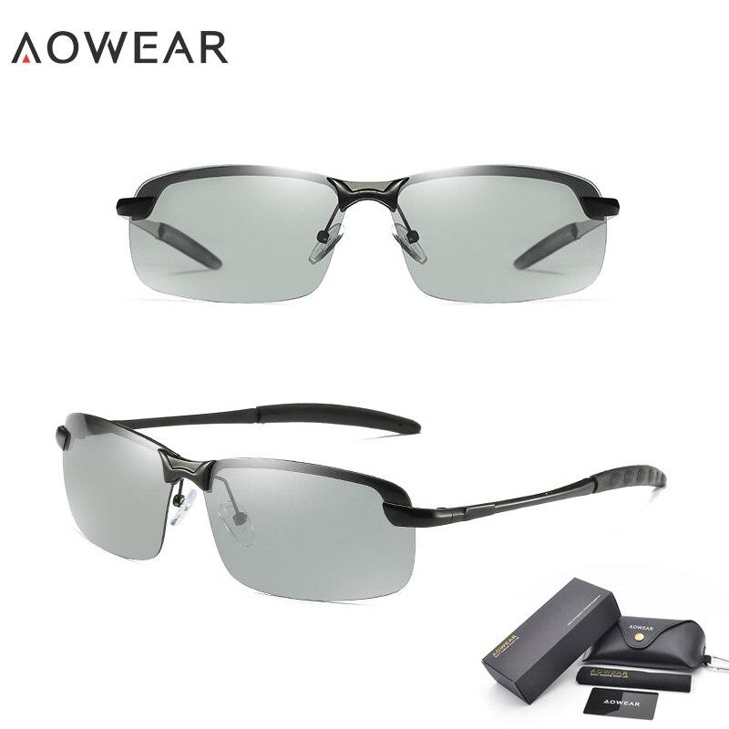 AOWEAR HD хамелеоны солнцезащитные очки мужские поляризованные фотохромные очки Хамелеон для мужчин день ночь вождения солнцезащитные очки Oculos gafas - Цвет линз: 7050B Black