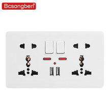 Bcsongben 146 wall power socket Universal Double usb five Hole Switch control 2.1A Wall Charger Adapter Plug Socket Power