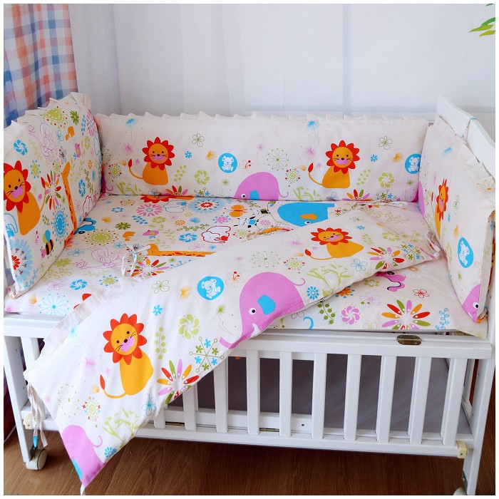 Promotion! 6PCS Strawberry girl,Baby crib bedding set 100% cotton bedclothes bed decoration (bumpers+sheet+pillow cover)