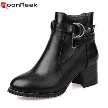 Moonmeek женщины ботильоны 2016 новый кожаный pu пряжка осенние сапоги женские круглый носок квадратных высокие каблуки насосы обувь женщина