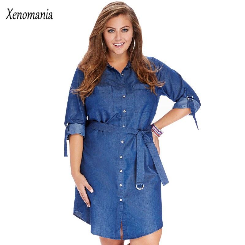 Plus Size Dresses For Women 4xl 5xl 6xl Denim Dresses Women Vestido