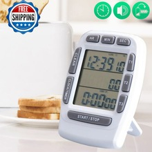 Free postage, large LCD screen kitchen timer, timer three channel electronic alarm clock,
