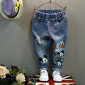 Kids 2016 Fall Fashion Cartoon All Match Hole Jeans Tide Children Trousers  Casual Pants Jeans Brands  Denim New Clothing