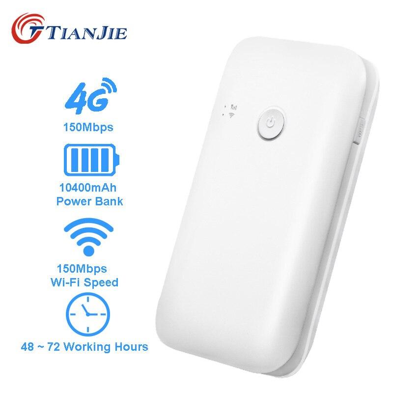 TIANJIE 4g Wifi Routeur Voiture Mobile Wifi Hotspot Sans Fil 10400 mah banque de puissance À Large Bande Mifi Déverrouillé Modem Avec Sim fente Pour carte