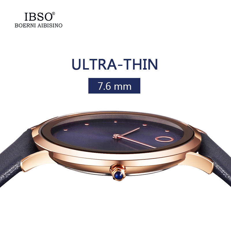 IBSO 7.6MM Ultra-Thin Men Women Luxury Watches New Fashion Waterproof Quartz Watch Men Women Genuine Leather Strap Montre Femme ibso brand fashion ultra thin quartz watch women stainless steel mesh and leather strap women watches 2018 fashion montre femme