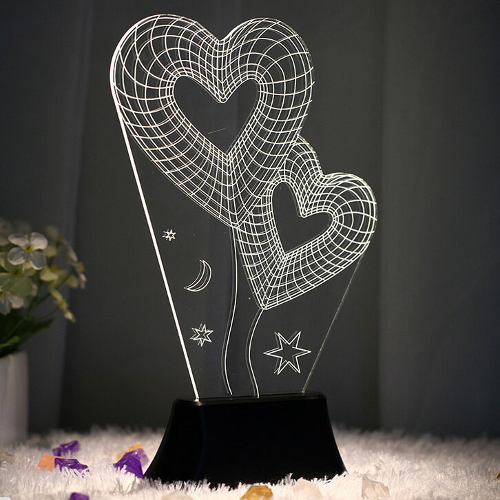 USB 3D LED Table Lamp Night Lights room Night Light Christmas Gift NEW Double Hearts