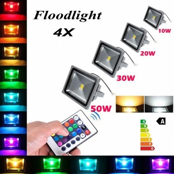 4x High Power Waterproof 10w 70w 50w 30w 100w Led Flood Light Warm/cool White/rgb/r/g/b/y Outdoor Lamp Free Fedex 20w