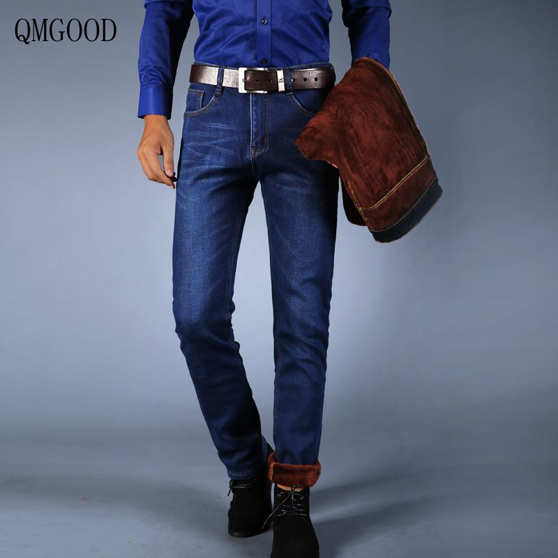 QMGOOD Winter Plus Cashmere Jeans Size 28-46 Male Straight Slim Stretch Thick Warm Men Business Casual Cowboy Trousers 2017 New
