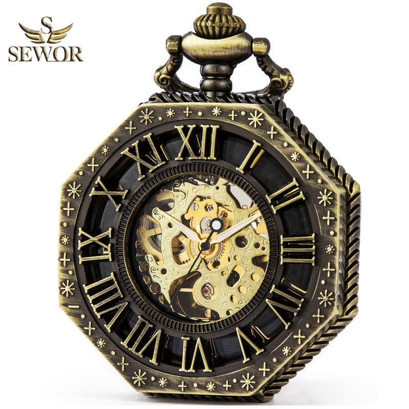 SEWOR Luxury Brand Fashion Vintage Bronze Gold Flip Cover Visual Hollow Mechanical Pocket Watch Men Sport Watch C259