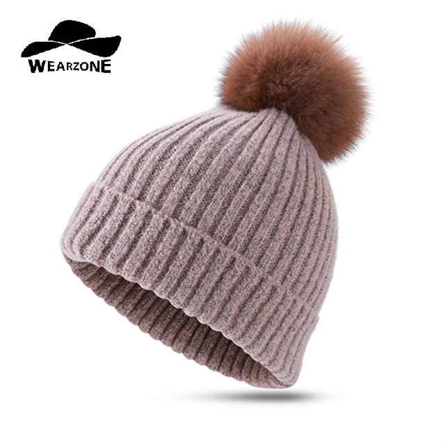 2017 Woman's Beanie Hats Winter Cap Thick Pom Pom Real fur ball Skullies Ski Skating Knitted wool Knitted Caps Hat