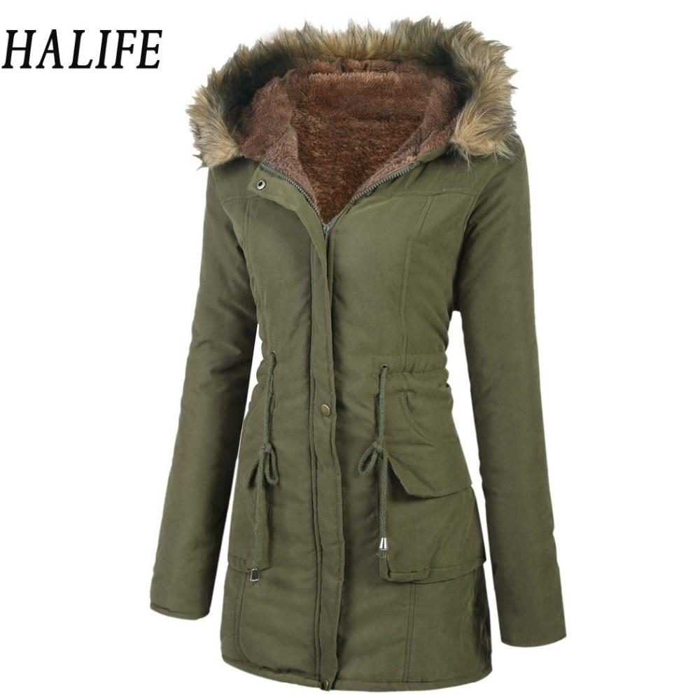 HALIFE 2017 Winter Jacket Women Coats Long Sleeve Warm Hooded Jacket Drawstring Waist Fleece Lined Parka Coat Doudoune Femme 105