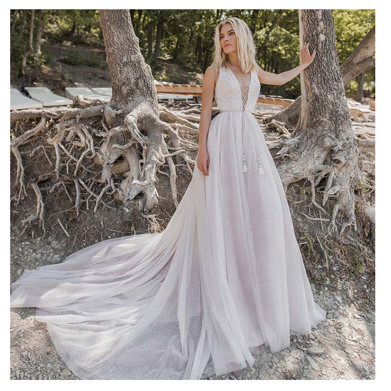 SoDigne 2019 Wedding Dress Appliques Lace Simple Sleeveless Bride dress A Line Lace Up Back Design Wedding Gowns Boho