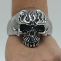 DL 316L Stainless Steel Huge Heavy Flame Skull Mens Hiphop Rocker Punk Bracelet Bangle Cuff S131